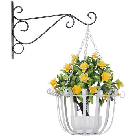 Support A Fleurs Suspendu, Blanc, 25Cm