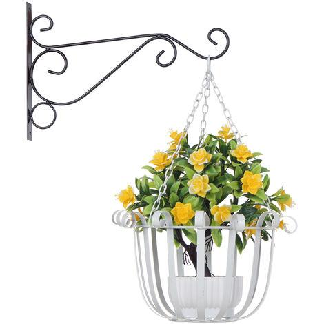 Support A Fleurs Suspendu, Blanc, 30Cm