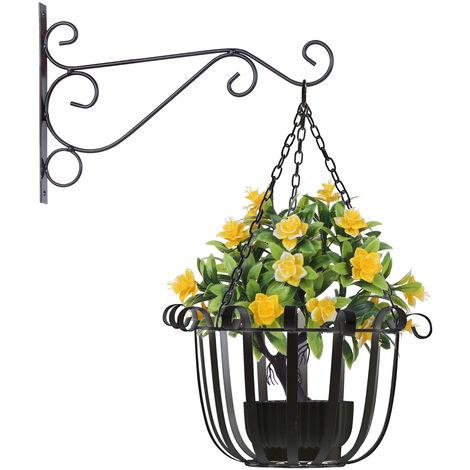 Support A Fleurs Suspendu, Noir, 25Cm