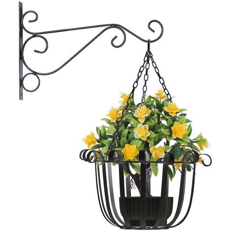 Support A Fleurs Suspendu, Noir, 30Cm