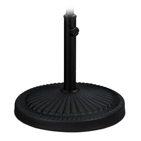Support à parasol, pour des barres de 30-45 mm, résistant intempéries, Ø 45 cm, jardin, balcon, acier, noir