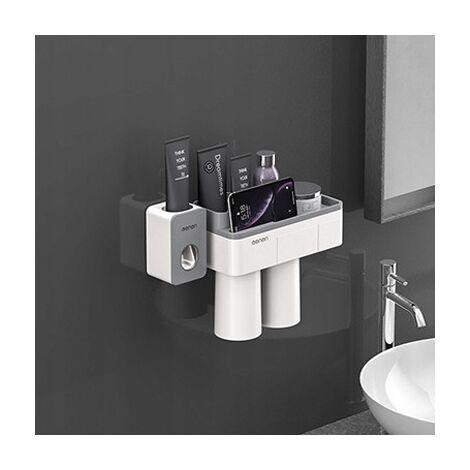 Support à ventouse magnétique, support de rangement pour meuble-lavabo,+ presse-dentifrice