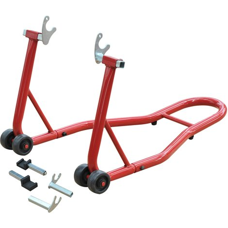 Support béquille de moto arrière lève moto arrière sur roulettes avec adaptateurs caoutchouc rouge et noir