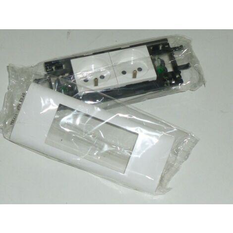 Support bloc double prise 2P+T borne auto avec cadre blanc pour goulotte DLP couvercle 65mm LEGRAND 077352