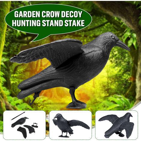 Support complet du corps flocage corbeau leurre chasse en plastique noir corbeau leurres w / pieds pieu, décoration de jardin
