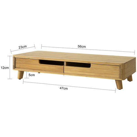 Support de Moniteur,Ordinateur Portable ou écran TV Réhausseur d'écran en Bambou ,SoBuy® BBF06-N