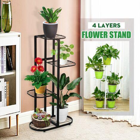 Support de pot de fleurs d'Interieur pour Etagere StLanding 4 couches Simplicity Metal Plants (noir)
