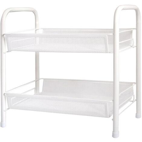 Support de rangement a deux couches 45*26*38CM pour ranger les serviettes, le lait corporel, les mouchoirs en papier, le sel de bain, les cosmetiques, blanc