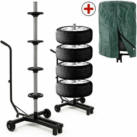 Support de rangement arbre à pneu - rangement 4 pneus - porte pneu mobile jantes