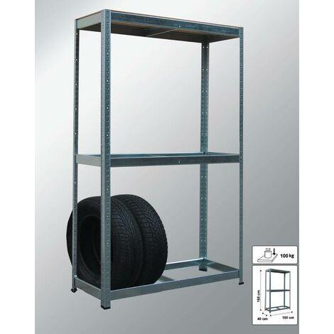 Support de rangement des pneus à 2 étagères - 100 x 165 x 40 cm