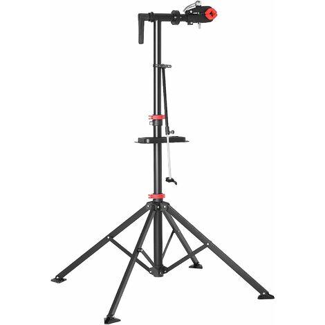 Support de réparation de vélo, Pieds d'Atelier, avec Plateau à Outils magnétique, Réglable, Léger, Portatif, pour Entretien et Réparation Bicyclette, Noir SBR05B - Noir