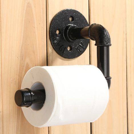 Support de rouleau de papier hygiénique en fonte métallique de tuyau rustique industriel fixé au mur Hasaki