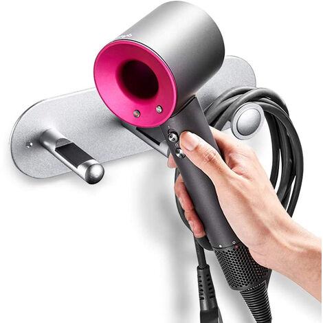 Support de sèche-cheveux, support mural auto-adhésif / poinçon pour sèche-cheveux pour sèche-cheveux supersonique et accessoires Dyson, argent
