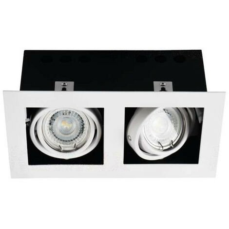 Support de spot encastrable perçage 195x95mm Rectangulaire Blanc