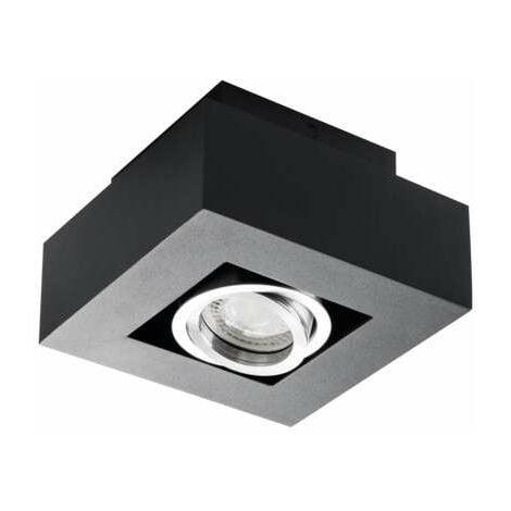 Support de spot saillie carré noir orientable