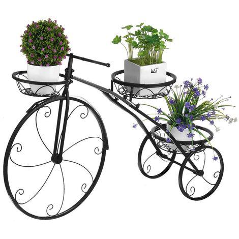 Support de support de plante en métal Forme de bicyclette Jardinière Étagère de pot de fleur Grille