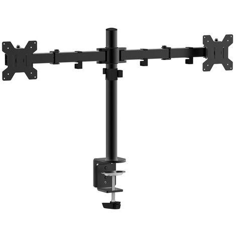 Support de table pour deux moniteurs approx appsmd02 de 10 à 27 bras avec 2 coudes et supports pivotants vesa max. 600x400 jusqu'à 10kg par bras.
