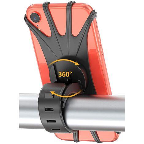 Support de téléphone de vélo, support de téléphone universel rotatif à 360 ° en silicone pour smartphones de 4,0 à 6,5 pouces, guidon de vélo noir