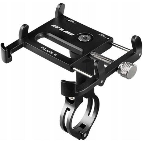 Support de téléphone portable de vélo et de moto, support de téléphone portable de vélo en alliage d'aluminium rotatif à 360 °, adapté pour 3 ... 5 à 6,2 pouces (noir)