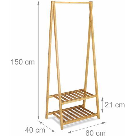 Support de vêtements en bambou chambre salle de bain 150 cm