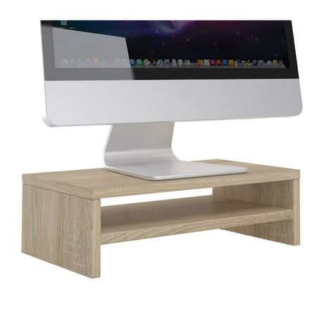 Support d'écran d'ordinateur DISPLAY, réhausseur pour moniteur avec étagère intermédiaire, longueur 42 cm, en mélaminé chêne sonoma