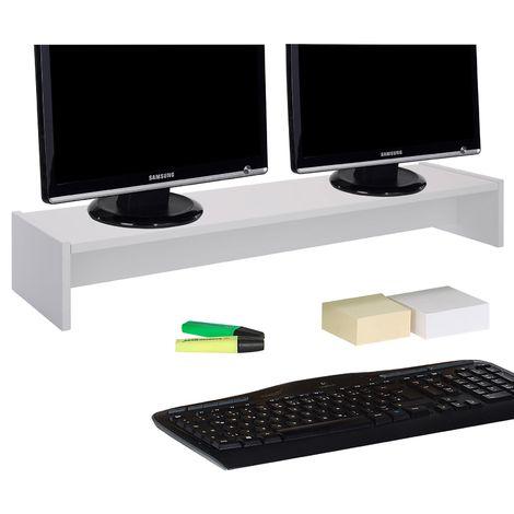 Support d'écran d'ordinateur SCREEN, réhausseur pour deux moniteurs ou un grand écran, longueur 100 cm, en mélaminé blanc mat