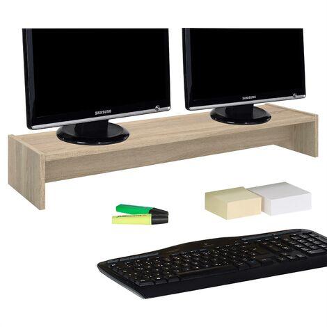 Support d'écran d'ordinateur SCREEN, réhausseur pour deux moniteurs ou un grand écran, longueur 100 cm, en mélaminé chêne sonoma