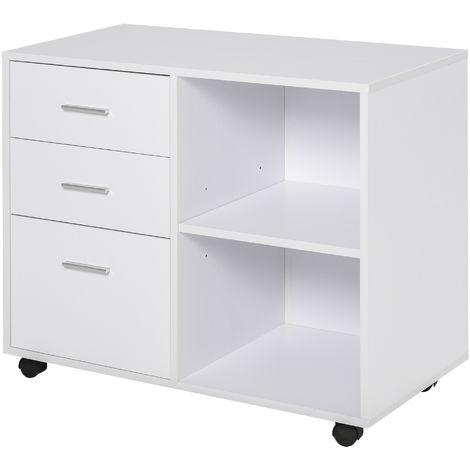 Support d'imprimante 3 tiroirs + 2 niches + grand plateau panneaux particules