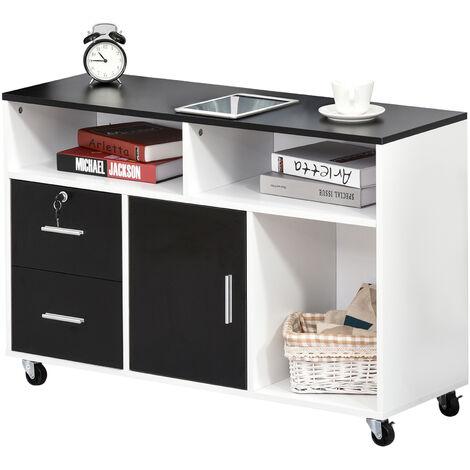 Support d'imprimante caisson placard porte avec étagère, niches, tiroirs verrouillables + grand plateau panneaux particules noir blanc