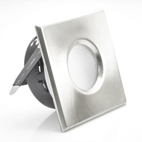 Support downlight carré mat chrome étanche IP65 Dim 83x83mm