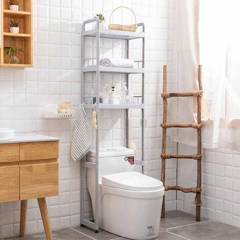 Support d'¨¦tag¨¨re de stockage de salle de bains d'¨¦tag¨¨re ¨¤ 3 niveaux sur autoportant d'¨¦conomiseur d'espace de toilette