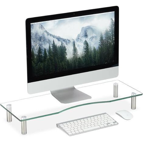 Support écran verre, Plateau TV, de Notebook, réglable en hauteur 9 à 11 cm, différentes couleurs, transparent