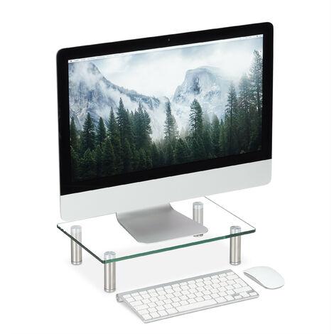 Support écran verre, Plateau TV, de Notebook, réglable en hauteur 9 à 11 cm, lxp: 38,5 x 24 cm transparent