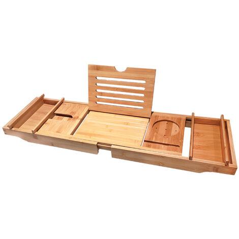 Support en bambou, plaque centrale r¨¦tractable, support de plateau de baignoire double bo?te + tapis en silicone antid¨¦rapant