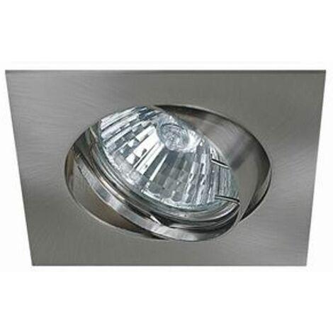 Support encastrable carré pour ampoule spot halogènes, CFL ou LED de 50W Max Couleur acier brossé