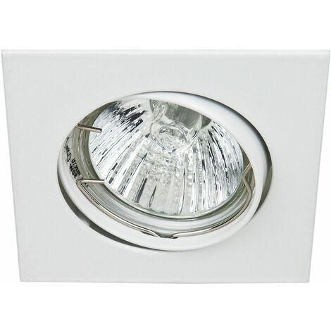 Support encastrable carré pour ampoule spot halogènes, CFL ou LED de 50W Max Couleur Blanc