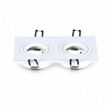 Support encastrable double pour spot orientable - rectangulaire - GU10 - IP20 - Blanc