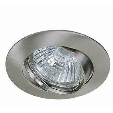 Support encastrable orientable ronde pour ampoules halogènes, CFL ou LED dia 50mm Couleur acier brossé ref.970