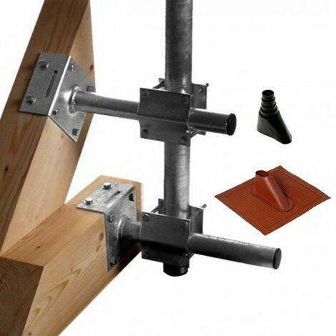 Support fixation charpente Triax DFC250 + Tuile malléable Alu Rouge brique