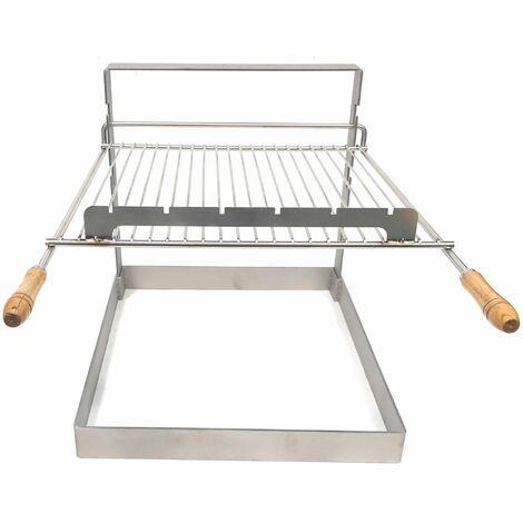 Support grille barbecue encastrable avec grille en acier inoxydable pour cheminée ou barbecue exterieur en pierre - Grilloir barbecue a bois