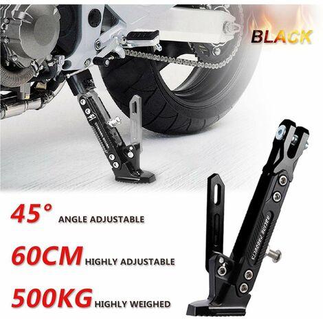 Support latéral de pied de béquille réglable en alliage d'aluminium CNC pour moto universel-noir (noir, noir)