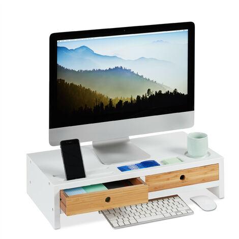 Support moniteur bambou, Rehausseur écran 2 tiroirs compartiments, Support HLP 14 x 60 x 30 cm, blanc/nature