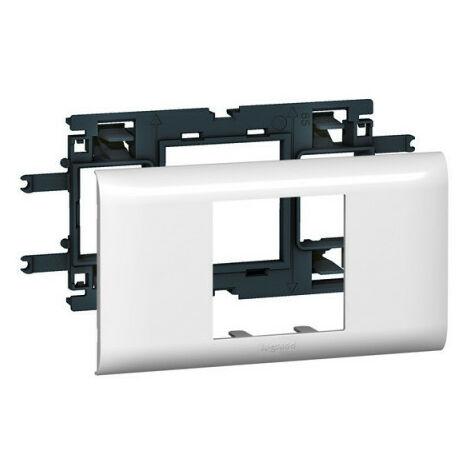 Support Mosaic 2 modules pour goulotte DLP monobloc avec couvercle 65mm (010952)