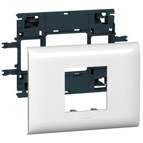 Support Mosaic 2 modules pour goulotte DLP monobloc avec couvercle 85mm (010992)