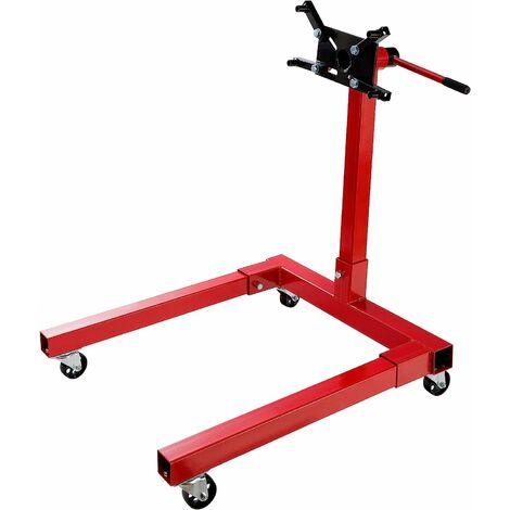Support Moteur 550 kg rotatif Levage Support à Griffes Pied Support Porte Moteur - rouge