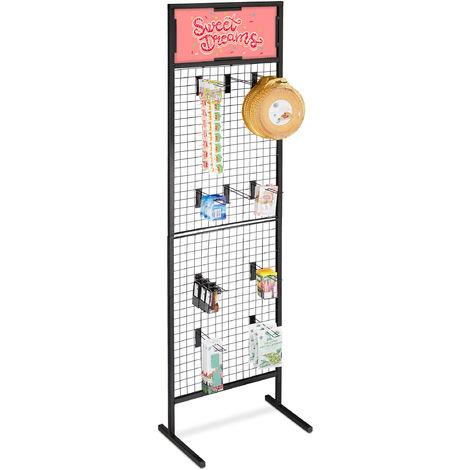 Support panneau perforé, tôle perforée présentation d'article, 10 crochets, en acier, HlP 215x65,5x44,5cm,noir