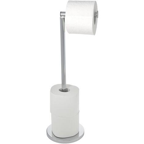Support papier toilette 2en1, Porte Papier toilette et Dérouleur Papier toilette, Acier brillant WENKO