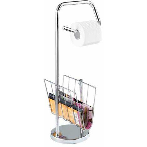 Support papier toilette et porte magazine, acier inox WENKO