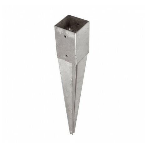 Support pied de poteau 9 x 9 x 75 cm ( 9x9 ) à enfoncer galvanisé à chaud