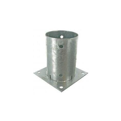 Support pied de poteau rond 80mm à fixer galvanisé à chaud